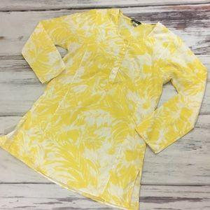 J. Crew beach swim coverup yellow white floral S